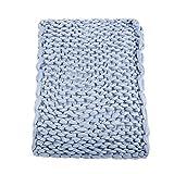 Qiterr Tricoté Chunky Plush Sofa Blanket Chaud Doux Grande Couverture Volumineuse Anxiété pour Adultes(100x120-Gris Clair)