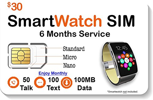 Smart Watch SIM Card - Compatible with 4G GSM Smartwatches and Wearables - 6 Months Service