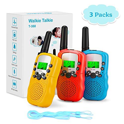 Fansteck 3er Walkie Talkies für Kinder, Funkgeräte Set mit Taschenlampe, 8 Kanäle 3KM Reichweite mit Seile, Spielzeug für 3,4,5,6,7,8,9 Jahre, geeignet für Freizeitpark, Zelten, Shopping, Indoor