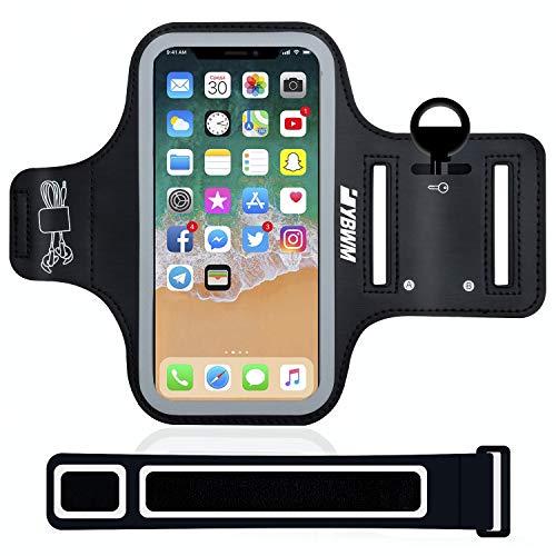 Sportarmband Schweißfest MP3 Handyhülle mit Verlängerungs-/Verkürzungband Schlüsselhalter Kartensteckplatz Kopfhörerloch Handytasche Fitness Tasche für Handy bis zu 6,0inch iPhone,Huawei,Samsung