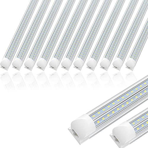 12 Pack 4FT Linkable LED Utility Shop Lights for Garage, 36W, 4680lm, 6000K, T8 Light Tube, Integrated Single Fixture, Cool White, V Shape, Garage, Basement, Plug and Play