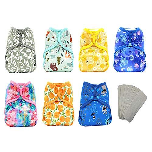 TBATM Lavables Inserte el pañal de Bolsillo Tela Reusable Cloth Nappy Cómodo Respirable Apto para bebés 7Pcs Pañales + 7PCS Inserciones,Azul