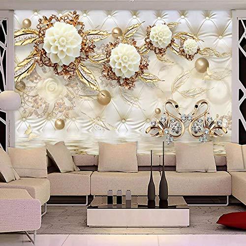 YNYEZBH Papel tapiz 3D para sala de estar bola dorada flor paquete suave pegatinas de pared para dormitorio sala de estar sofá mural TV fondo pared decoración del hogar arte de la pared