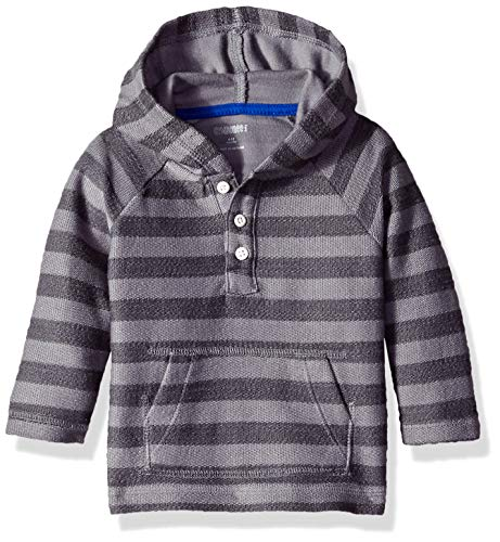 Gymboree Baby Boys 2-Tone Grey Striped Hoodie, Dare Devil Blue, 6-12 Mo