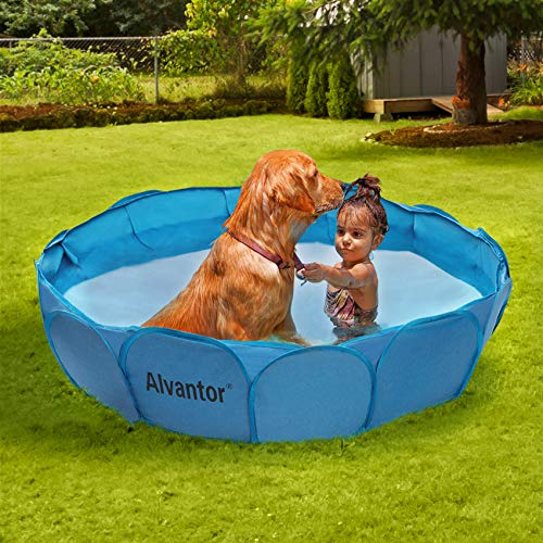 Alvantor Pet Swimming Pool Dog Bathing Tub Kiddie Pools Cat Puppy Shower Spa Foldable Portable Indoor Outdoor Pond Ball Pit 42' x12' Patent Pending