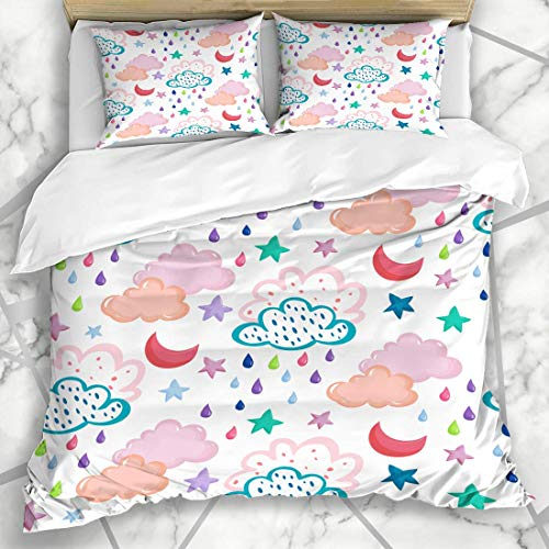 HARXISE Ropa de cama funda nórdica Dibujo Nube Patrón de mano Nubes estrellas de luna Gotas de lluvia Brillo Resumen Niño Bebé Brillante Niños Color Microfibra de tres piezas Funda de edredón 140*200