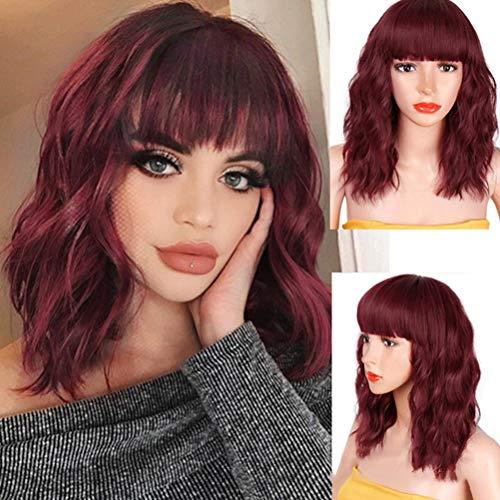 Yooyg Peluca Bob corta rizada, con flequillo, peluca sintética ondulada, longitud del hombro, aspecto natural, resistente al calor, pelucas de fibra para mujeres