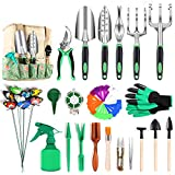 Garden Tools Set, 49 PCS Heavy Duty Gardening Tools Set with Soft Rubber Non-Slip Handle, Plated Aluminum Alloy, Extra Succulent Hand Tools , Durable Storage Tote Bag, Gifts for Men ,Women,Gardeners