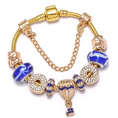 QERTYU Hot Air Balloon Pendant Charm Bracelet Gold Glass Hollow Love Heart Beads Fine Bracelet for Women Jewelry