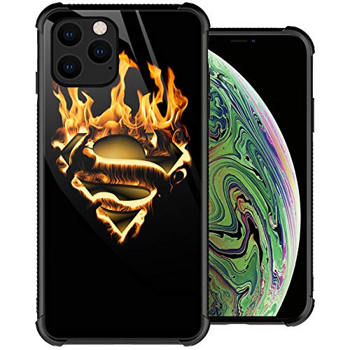 Yuning419 Compatible with Case for iPhone 12 Pro Max, Superman Logo Phone Cases, Organic Glass Back+Soft Silicone TPU Shock Protective Case Compatible with Case for iPhone 12 Pro Max 6.7-inch