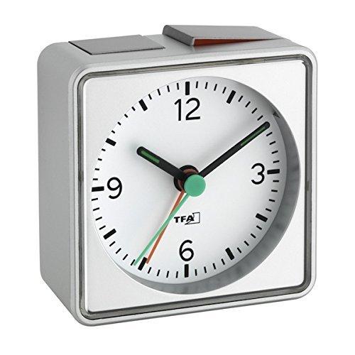 Analoger Lautlos-Wecker TFA 60.1013 Push Sweep-Uhrwerk ohne Ticken (Silber, mit Batterie)