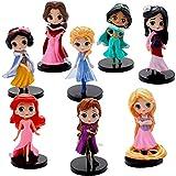 Princesa Cake Topper,8 pcs Princesa Mini Figuras Pastel Topper, Anime Decoración de Torta de Fiesta Fuentes del Partido,Modelo de Muñeca de Princesa para Niños Cumpleaños Cake Decoraciones