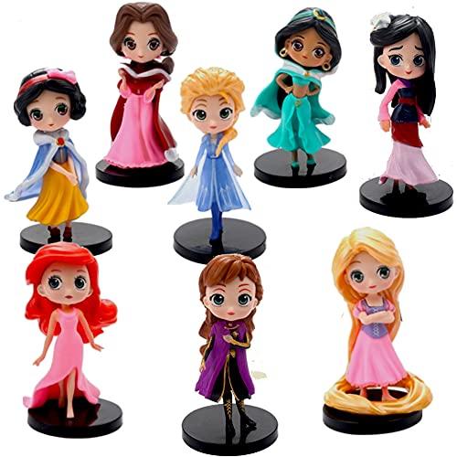 Principessa Cake Topper-8 Pcs Principessa Mini Figurine Torta Topper,Mini Action Figurine Decorazione di Compleanno Cake per Torte di Compleann Supplies per Bambini Micro Decorazione Paesaggio