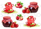 Stickers DÉCORATIFS Fruit Cuisine JUS Cocktail Exotique à découper (Planche à Stickers Dimensions 21x28cm en Papier ADHESIF Transparent)