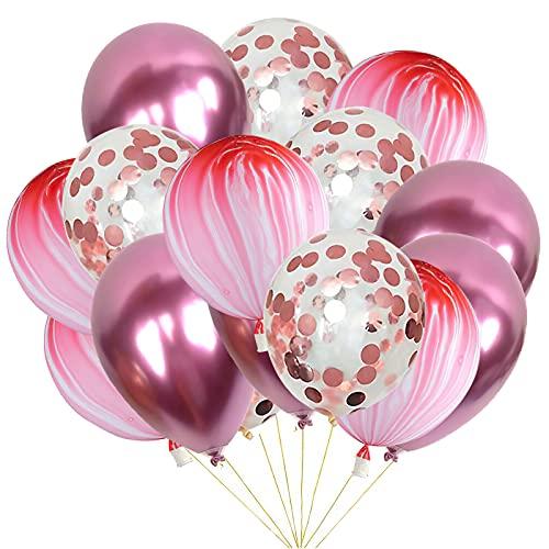 30 Piezas Globos Rosa Globos de Confeti Decoración de Globos de Fiesta Decoración para Cumpleaños Baby Shower, Marmoleados Globos Boda