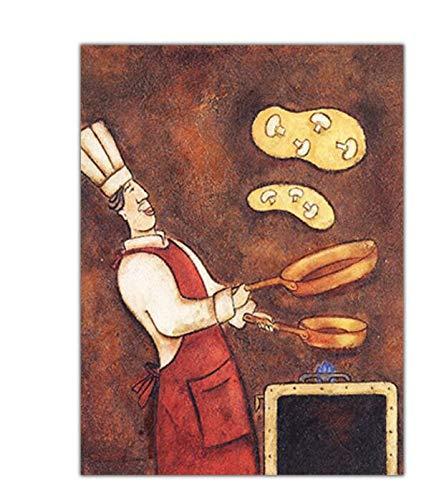 Kit de Pintura de Diamantes 5D,Chef de Cocina Diamond Painting Bricolaje Completo Taladro Arte,Diamantes Imitación Bordado Pegatinas de Pared Decoración de La Sala(40x50cm)