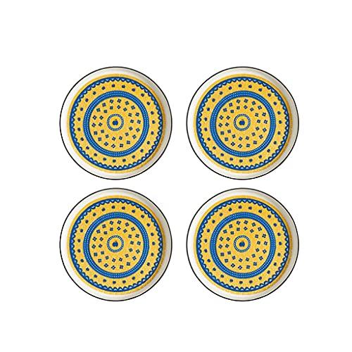 KGDC Platos de Aperitivo Conjunto de 4 Plato de Salsa de cerámica Salsa de Soja Placas de inmersión Snack Sushi Fruta Aperitivo Placas Platos Laterales 4.33 Pulgadas Platos para Servir bocadillos