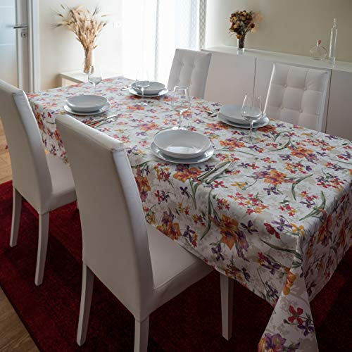 Via Roma 60 Tovaglia Antimacchia Non Lavo Non Stiro Microresinata Sala Cucina Giardino Nuova Tecnologia Adatta a Tutte Le Occasioni (140_x_140_cm, Fiori Arancio)
