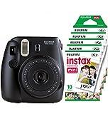 Fujifilm Instax Mini 8 - Cámara instantánea (flash, 1/60 sec) color negro + 5 paquetes de películas fotográficas instantáneas (10 hojas)