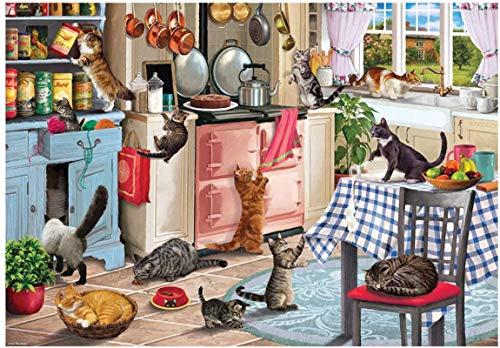 Rompecabezas de 500 piezas para niños adultos, juguete educativo para regalo, tranvía junto al mar, gatos en la cocina