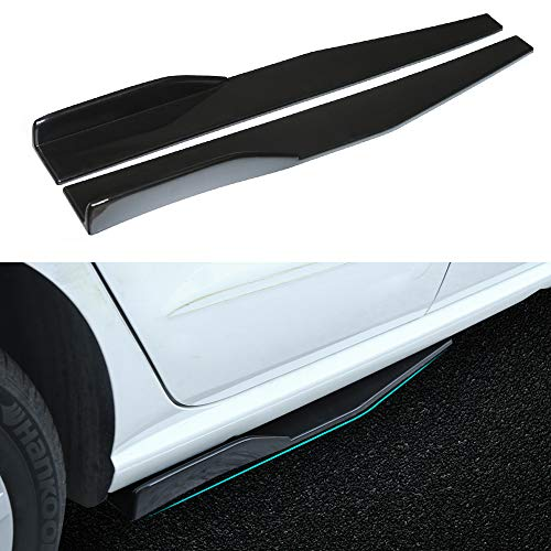 Universal Car Body Styling Side Skirt 745mm Left/Right PP Universal Rear Side Skirt Winglets Diffusers (Black)