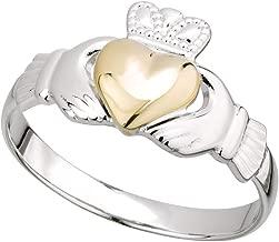Biddy Murphy Irish Claddagh Ring Sterling Silver Band 10k Gold Heart Made in Ireland