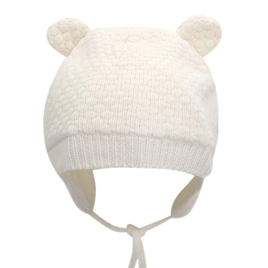 IMLECK Baby Soft Warm Fall Winter Knit Wool Hat Cute Bear Toddler Beanie Hat with Ear Flap