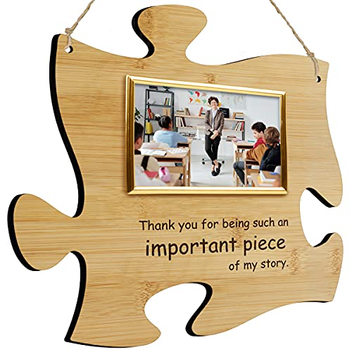 Thank You For Being A Piece Of My Story - Hanging Modern Acrylic Puzzle Piece Sign with 6 x 4' Picture Frame - A Great Teacher, Mentor, Or Leader Gift (Bamboo)