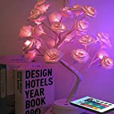 Rose Light Tree,Rose Lamp Tree,Lighted Tree for Bedrooms, 16 Colors Changing Desk Flower with Romote Control, Perfect as Kid's Night Lamps or Decorative Lamps for Couples or Households.