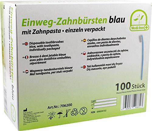 Medi-Inn Einwegzahnbürsten Einmalzahnbürsten mit Zahnpasta blau PZN 05024152 Reisezahnbürsten (100 Stück)