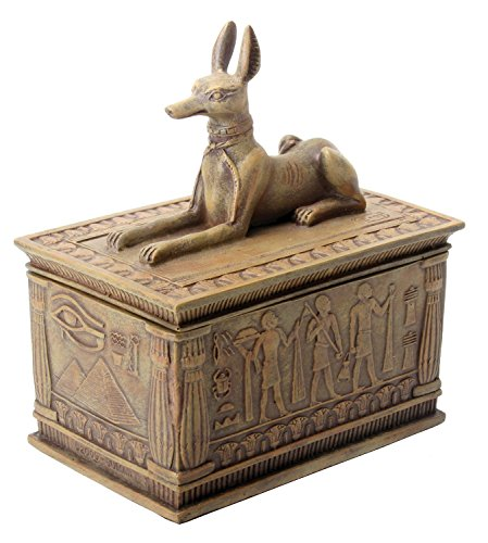 Summit Sandstone Colored Anubis Box with Egyptian Detail Bottom Designs