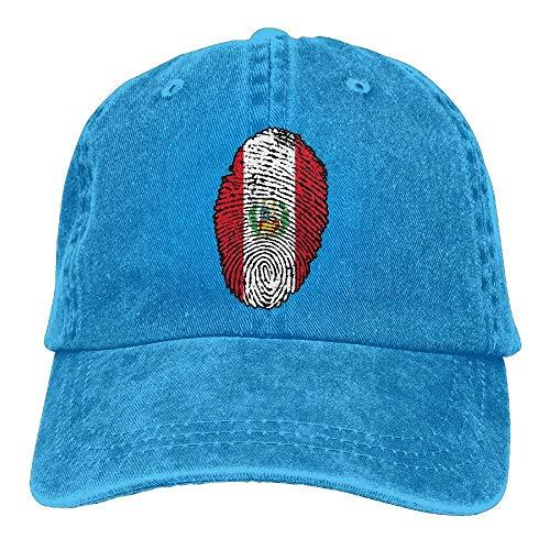 LENGDANU Gorra de béisbol para hombre y mujer Trucker Sombreros Denim Snapback Bandera Perú Huellas Digitales Ajustable Seis Panel Casqueta para Papá Mamá