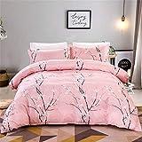 Juego de cama con funda nórdica con diseño de ciruela rosa para niñas, juego de funda nórdica de microfibra suave de 3 piezas con 2 fundas de almohada y cierre de cremallera,individual 135x200cm