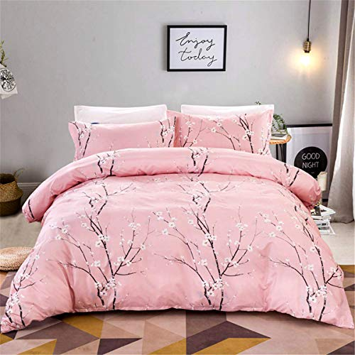 3 Pieces Double Floral Bedding Set with Zipper Closure Pink Classic Elegant Plum Pattern Duvet Cover with 2 Pillowcases Hypoallergenic Soft Microfiber Quilt Cover 200x200cm