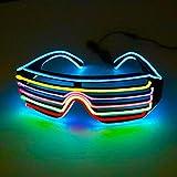 abiet LED Partybrillen, EL Wire Leuchtbrille Leuchten Cool Brille LED Atzenbrille Für Karneval Und...