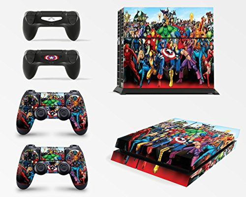 giZmoZ n gadgetZ GNG PS4 Konsolen-Gehäuseaufkleber, Motiv: Marvel, inklusive 2er-Set mit Aufklebern für Controller