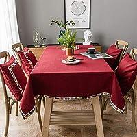 長方形のテーブルクロス、純色の綿とリネンのデザインのテーブルクロス、防汚洗えるテーブルクロス、屋外または屋内のキッチンでの使用に適しています- red-50x90cm