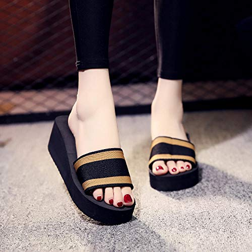 Indoor Outdoor Bath Sandal,Damesbiscuit met dikke bodem pantoffels, antislip strand sandalen-Brown_37