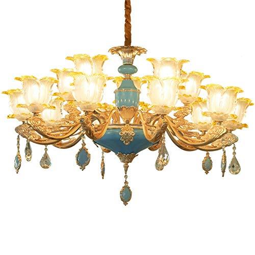 boaber Lámpara de araña de cristal tallada a mano de estilo europeo de lujo con luz LED de color morado E14 * 6 Artistic Creative Fashion Home Sala Hotel es de 70 * 70 * 51 cm