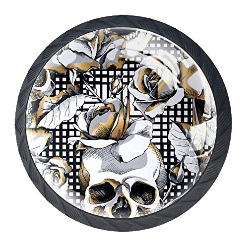 4pcs Cabinet Knobs Gold Skull And Rose Flowers On Geometric Pattern Pull Handle Crystal Glass Drawer Knob Pull 30mm for Drawer Door Cupboard Wardrobe
