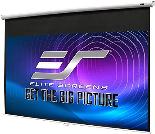 Elite Screens Manual B, 100-INCH 1:1, Manual Pull Down Projector Screen 4K / 8K Ultra HDR 3D Ready with Slow Retract Mechanism, 2-YEAR WARRANTY, M100S