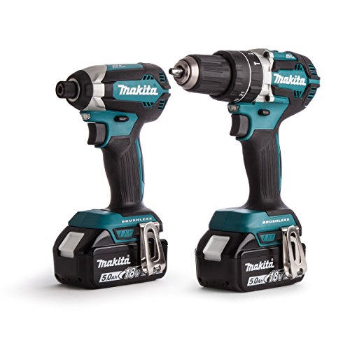 Makita DLX2180TJ 18 V Li-ion LXT Brushless 2 Piece Combo Kit comprising DHP484Z and DTD153Z Complete with 2 x 5.0 Ah Li-ion Batteries and Charger Supplied in a Makpac Case