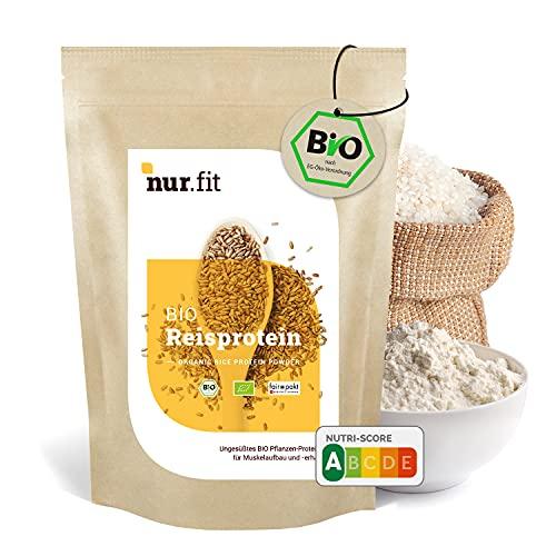 nur.fit by Nurafit BIO Reisprotein-Pulver 1kg – Reiseiweißpulver aus kontrolliert biologischem Anbau mit 90 % Proteingehalt - natürliches veganes Proteinpulver ohne Zusatzstoffe – vegan Protein