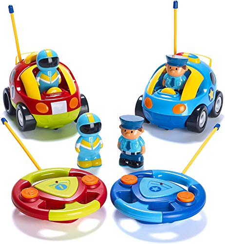 Product Image of the Prextex Pack of 2 Cartoon R/C Police Car and Race Car Radio Control Toys for...