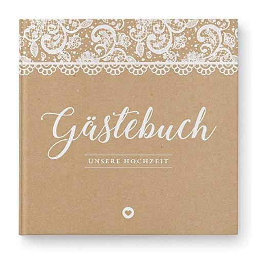 DeinWeddingshop Gästebuch Hochzeit ohne Fragen Vintage Spitze - Hochzeitsgästebuch, Hardcover 21x21 cm, braun weiß