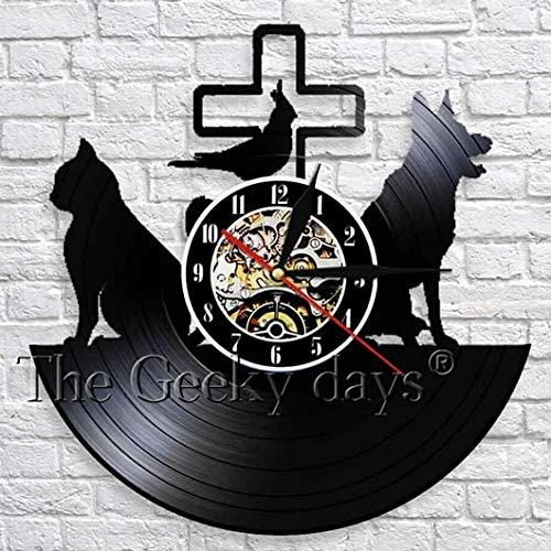 wtnhz LED Reloj de Pared de Vinilo Colorido Cuidado Veterinario Reloj de Pared de Vinilo Diseño Moderno Clínica Veterinaria Gato Perro Clásico 3D Animal Reloj de Vinilo Reloj de Pared 12 Pulgadas