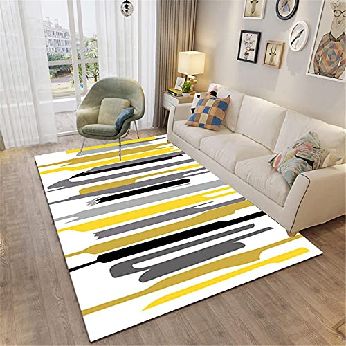 Alfombra dormitorios Juveniles Alfombra de Rayas Negras Gris Amarilla Fácil de administrar y Duradero Alfombra habitacion Bebe habitacion Infantil 200*300cm