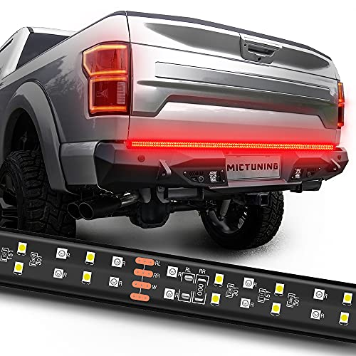 MICTUNING 60 Inch 2-Row LED Truck Tailgate Light Bar Strip Red White Reverse Stop Turn Signal Running for SUV RV Trailer