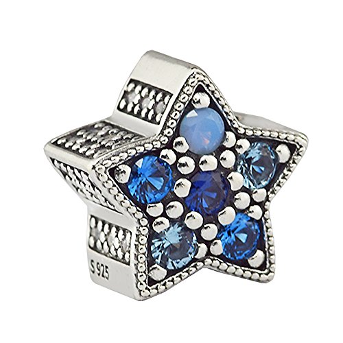funshopp colección de Navidad azul Bright Star DIY se adapta para Original Pandora pulseras encanto moda joyería