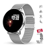 GOKOO Smart Watch with Heart Rate Sleep Monitor Full Touch Screen Fitness Tracker Music Remote Camera Control Bluetooth Smartwatches with Sedentary Reminder Calorie Step Counter Activity Tracker Compatible with IOS and Android for Women Men (Silver)